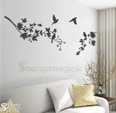 Tree Branch Wall Decal Leaves Branches Birds Wall Decal Wall Etsy
