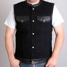 hot leathers men s black denim and