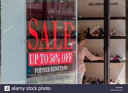 Sale Window Decal On A Dune Shoe Store Oxford Street London Uk Stock Photo Alamy