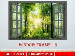 3d Window Forest Landscape Wall Decor Vinyl Poster Nature 3d Window View Wall Decal Window Effect Wall Sticker Prints Poster Window Sticker Landscape Walls Landscape Wall Decor Wall Vinyl Decor