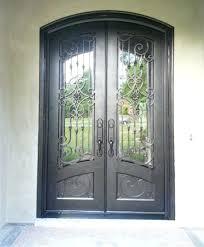 double entrance wrought iron glass door