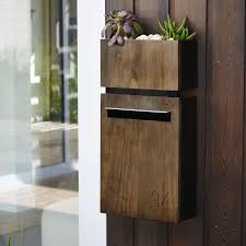 Javi Wall Mount Letterbox With Javi Wall Planter In Charcoal With Dark Stained Accoya Wood Front Panel Modern Mailbox Letter Box Wall Mounted Tv