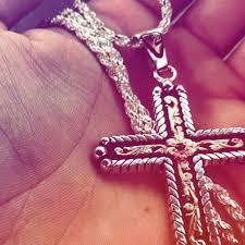 lariat large cross pendant w blackest
