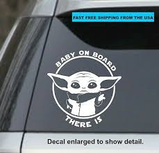Baby Yoda Star Wars The Mandalorian Baby On Board White 6 Vinyl Sticker Decal Ebay