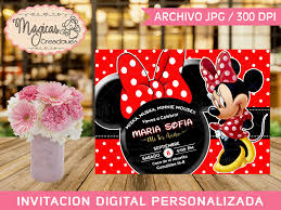 Digital Birthday Invitation Minnie Mouse Red Girls Invitaciones