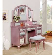 tracy contemporary vanity w stool rose