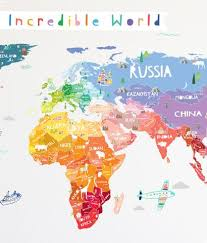 Our Incredible World Die Cut World Map Wall Decal With Personalization The Lovely Wall Company