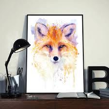 Cute Red Fox Head Watercolor Portrait Wildlife Wall Art Etsy
