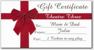 gift certificates for theatre three