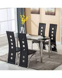 Sweet Savings On 5 Piece Dining Room Table Sets Heavy Duty Glass Dining Table With 4 Chairs Sturdy Metal Frame Dining Room Table Set Small Kitchen Table Furniture For Restaurant Coffee Shop Bistro