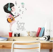 Amazon Com Wangxj Beautiful Guitar Girl Music Sticker 3d Kids Room Decoration Kawaii Baby Girls Bedroom Decor Wall Stickers Child Pegatinas Kitchen Dining