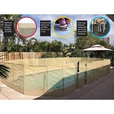 Waterwarden 4 Ft H X 12 Ft W Beige In Ground Pool Safety Fence Wwf200b The Home Depot