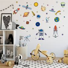 Colorful Planet Wall Stickers Rocket Decals Nursery Room Decor Space Ship Vinyl Wall Decal Kids Room Boys Bedroom Removable Sticker Wish