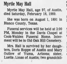 Myrtle Jackson Hall obituary - Newspapers.com