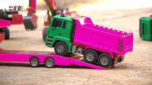 Máy xúc xe tải màu hồng nhạc thiếu nhi vui nhộn - YouTube