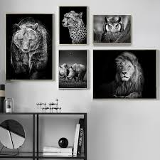 Black White Lion Bear Rhino Leopards Owl Wall Art Canvas Painting Nordic Posters And Prints Wall Pictures For Living Room Decor Wish