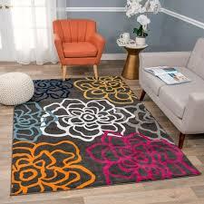 Carpet Sizes Floral Blue Kids Rug 2x3 3x5 5x7 Washable Non Skid Child Flowers
