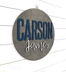 Amazon Com Nursery Name Sign 3d Custom Name Sign Baby Shower Gift Round Wood Name Sign Baby Name Sign Name Reveal Nursery Theme Crib Sign Handmade