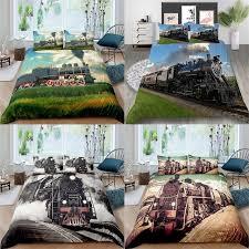 2 3pcs 3d train tank bedding set queen
