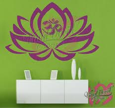 Boho Lotus Flower Boho Om Symbol Wall Decal Large Wall Decal Boho Decor Bohemian Wall Decal Bohemian Wall Decor Large Wall Decals