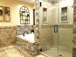 interior faux stone wall bathroom