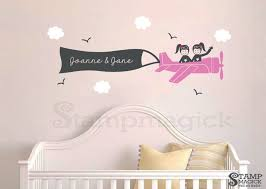 Sisters Girl Airplane Wall Decal Twins Plane Pilots With Etsy
