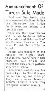 Psul snd Ora Smith sell Fireside Bar 1960 - Newspapers.com