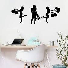 Amazon Com Schula Wall Decal Sticker Art Mural Home Decor Quote Shopping Women Girl Silhouette Fashion Home Kitchen