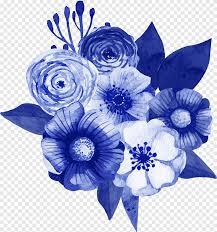 باقة من الزهور تصميم زهور الزنبق الأزرق زخارف نباتية زرقاء داكنة