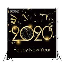 خلفيات تصوير Laeacco 2020 أشرطة ذهبية جديدة سعيدة على مدار الساعة