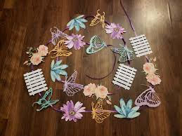 Butterfly Garden Hanging Garland 8 Feet Long Baby Shower 1st Birthday Party Supplies Decorations Fence Flowers Butterflies