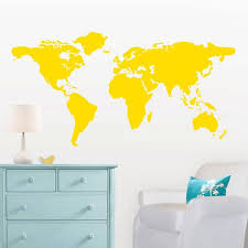Large World Map Wall Decal With Dots And Stars To Mark Etsy