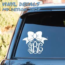 Customize Bow Monogram Script Vine Font Car Window Decal Etsy