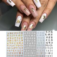 Nail Art 3d Decal Stickers Alphabet Letters Number Nail Designs White Black Gold Acrylic Nails Tool Stickers Decals Aliexpress