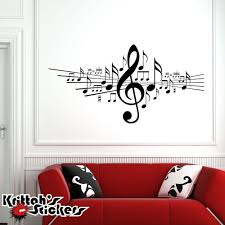 Musical Notes With Treble Clef Wall Decal Home Decor Music Sticker Art Bd472 Wall Decals Vinyl Wall Decals Sticker Art