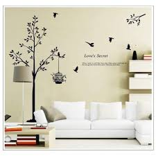 Cukudy Tall Black Tree With Birds And Birdcage Love S Secret Quote Wall Decal Sticker Decor Amazon Com