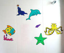 Set Of 5 Sea Life Bath Tile Decals Bathroom Mirror Decoration Kids Multi Colour Mirror Decal Tile Decals Window Clings