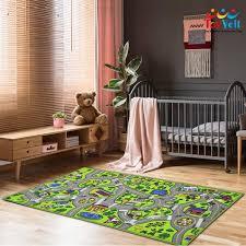 Toyvelt Kids Carpet Playmat Car Rug City Life Educational Road Traffic Carpet Multi Color Play Mat