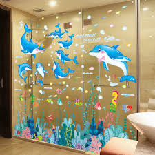 Seagrasses Fish Wall Stickers Diy Seaweed Dolphins Wall Decals For Kids Rooms Baby Bedroom Home Decoration Wall Stickers Aliexpress