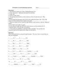 worksheet to teach balancing equations