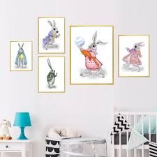 Art Prints Classic Watercolor Modular Animal Cartoon Fun Rabbit Canvas Decor Kids Room Nordic Poster Pictures Home Wall Painting Painting Calligraphy Aliexpress