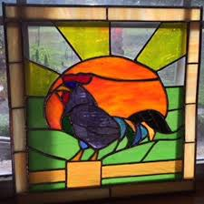 stained glass fencepost rooster