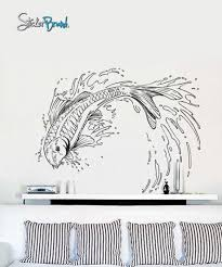 Japanese Koi Fish Jumping Out Of Pond Wall Decal Asian Theme Decor 367 Stickerbrand