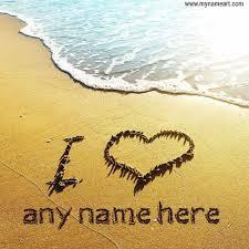 i love you with name beach sand writing