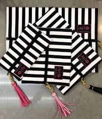 stripe mini makeup junkie cosmetic bag