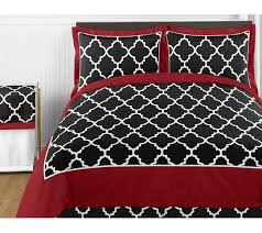trellis red and black twin bedding