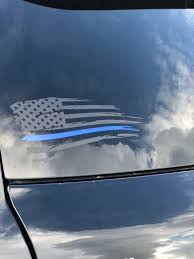 Flag Thin Blue Line Distressed Thin Blue Line Flag Car Etsy