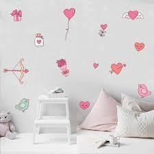 Pink Heart Flowers Wall Sticker Cartoon Birds Love Diy Decal For Kids Baby Girl Room Wallpaper Nursery Bedroom Home Decoration Wall Stickers Aliexpress