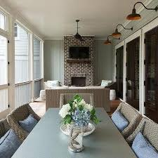 enclosed back porch fireplace design ideas