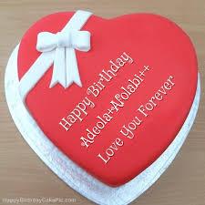 ❤️ Pink Heart Happy Birthday Cake For Adeola+Afolabi++